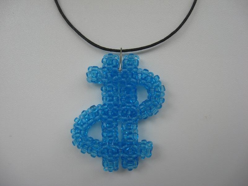 """Кулон, брелок для ключей, сувенир  """"Доллар """" из бисера.  Оригинальный подарок, сувенир на любой праздник."""